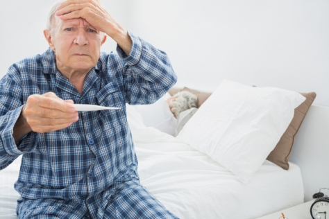 Old man with fever